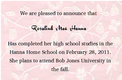 Rose Graduation Announcement