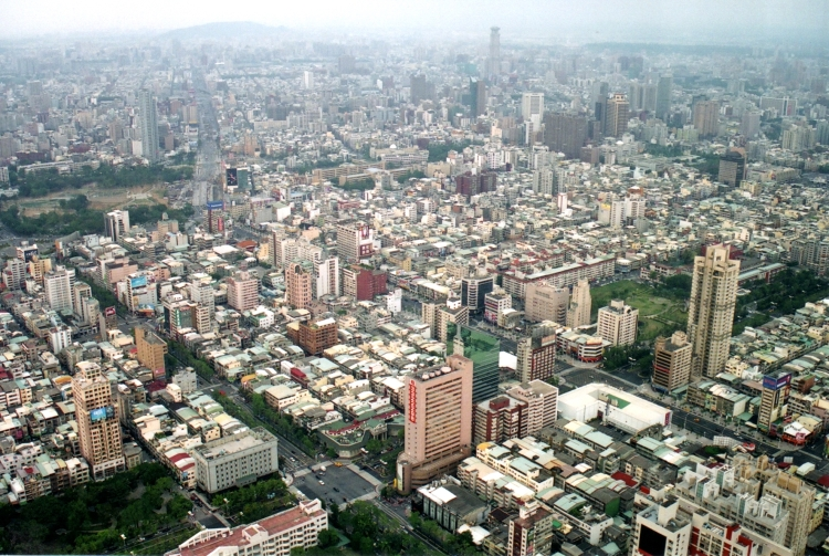 From the observation deck of the 85 floor Tuntex Sky Tower looking north one can see BanPing Mountain in the distance (top left). DzwoYing District, where Cornerstone Baptist Church is located, is just this side of BanPing Mountain. Only part of Kaohsiung is visible in this view. (click to enlarge)